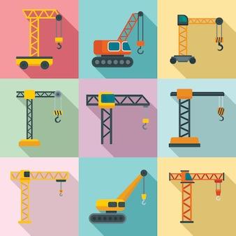 Crane icons set, flat style