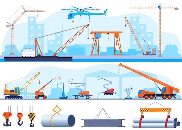 Crane, industrial construction icon or lifting equipment icons using in heavy industry set.
