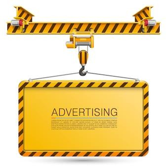 Crane lifts the billboard art. vector illustration