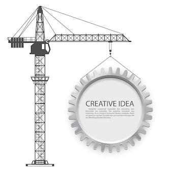 Crane lifts the gear art. vector illustration