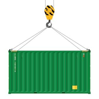 Крановые подъемники с грузовым контейнером. промышленный крюк крана и контейнер для перевозок изолированные на белой предпосылке. концепция грузоперевозок.