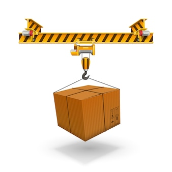 Crane loading boxes art box. vector illustration