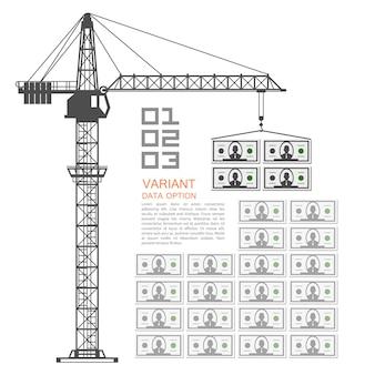 Crane loading dollars art money. vector illustration
