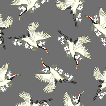 Crane, pattern, vector, illustration