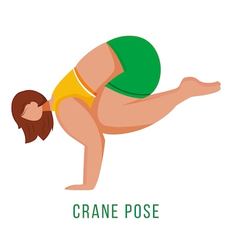 Crane pose flat design illustration