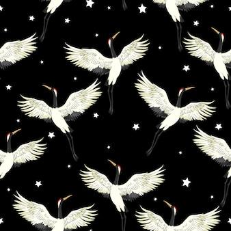 Crane seamless pattern in black
