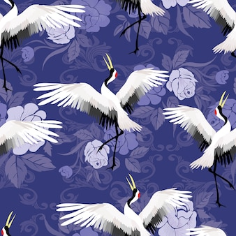 Crane seamless pattern illustration