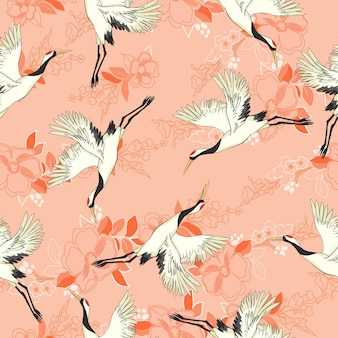 Crane seamless pattern