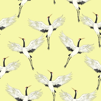 Crane seamless pattern
