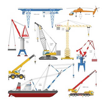 Crane  tower-crane and industrial building equipment or constructiontechnics illustration set of high gantry or portal-crane  on white background