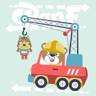 Crane truck with cute animals