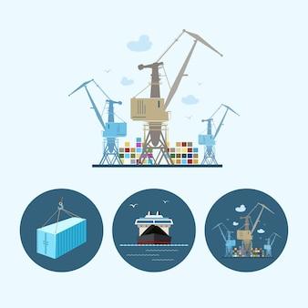 クレーンは貨物コンテナ船からコンテナを降ろします、3つの丸いカラフルなアイコンがセットされています、乾いた貨物船、港にコンテナがあり、クレーンフックにコンテナがぶら下がっているクレーン、ロジスティックアイコン