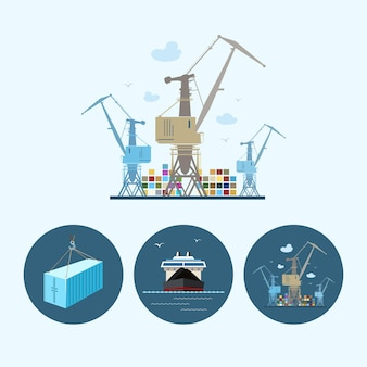 Crane unloads containers from cargo container ship, set with 3 round colorful icons, dry cargo ship , crane with containers in port and container hanging on crane hook ,logistic icons