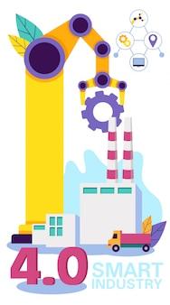 Crane working in production. smart industry.vector