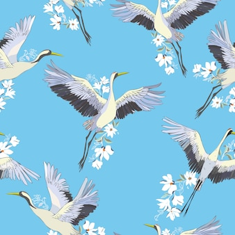 Cranes and flowers pattern