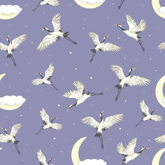 Cranes flying seamless pattern