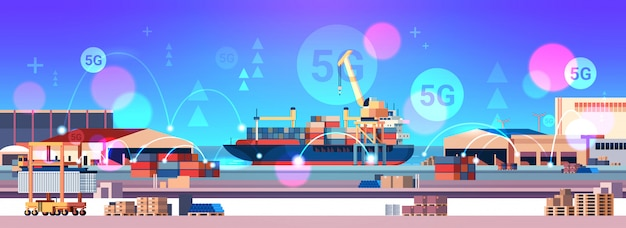 Cranes loading containers on ship 5g online wireless system connection cargo seaport sea transportation concept industrial zone shipyard background horizontal