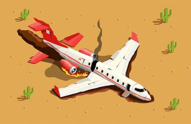 Crash of airplane illustration