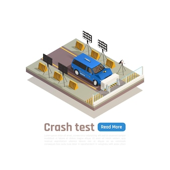 Crash test car safety isometric composition with editable text and view of car crashing into barrier