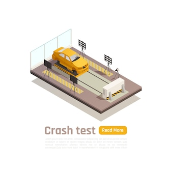 Crash test car safety isometric composition with image of car on testing fixture with editable text
