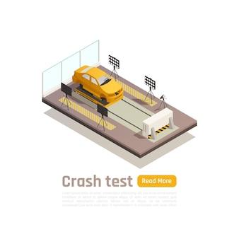 編集可能なテキストでテストフィクスチャ上の車の画像と衝突試験車の安全等尺性構成