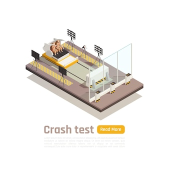 Crash test car safety isometric composition with view of testing fixture unit and dummies with text