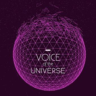 Разрушение фиолетовой космической сферы. абстрактный фон вектор с крошечными звездами. свечение солнца снизу. абстрактная геометрия пространства. блестки инопланетных звезд на заднем плане. распад киберсферы.