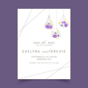 ユーカリ、ケシ、アネモネとcraspediaの花と花の結婚式の招待状