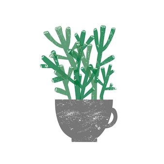 Crassula 호빗 houseplant 평면 벡터 일러스트 레이 션. 흰색 배경에 격리된 트렌디한 세라믹 냄비에 즙이 많은 식물. 상록 식물 집 장식 요소입니다. 국내 장식 녹지.