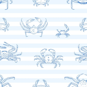 Crayfish vector seamless pattern. sea animals, marine crabs on striped background. restaurant seafood menu. delicacy food, ocean creature with pincers wrapping paper, wallpaper textile design.