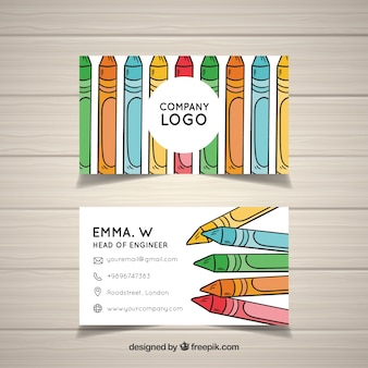 Crayon art studio card template