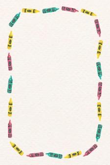 Crayon frame vector in watercolor
