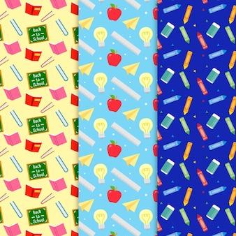 クレヨンとノートのパターンを学校のコンセプトに戻す
