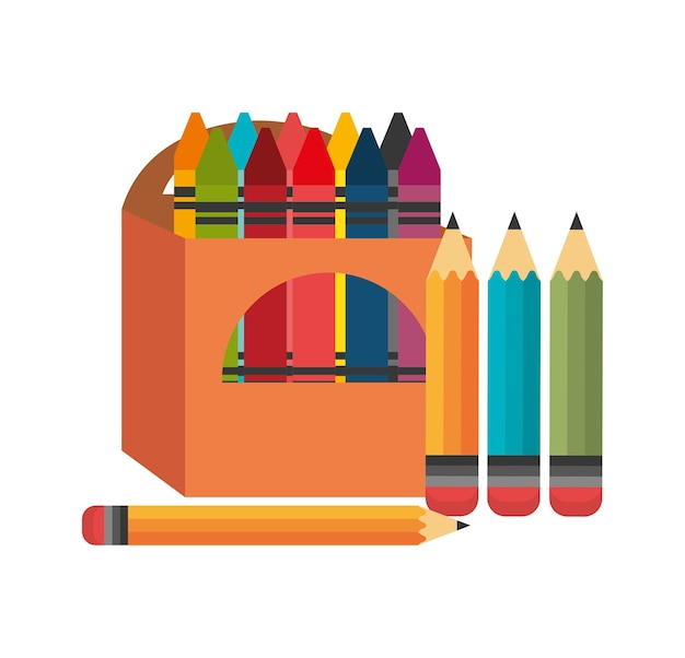 Crayons box four pencil graphic