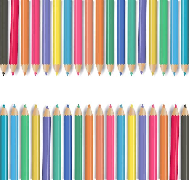 Мелки - набор цветных карандашей, свободно расположенных на белом фоне. векторная иллюстрация