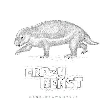 미친 짐승. 손으로 그린 동물 그림