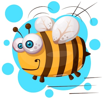 Crazy bee - cartoon illustration character