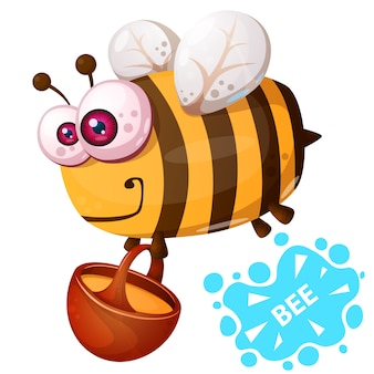 Crazy bee - cartoon illustration character.