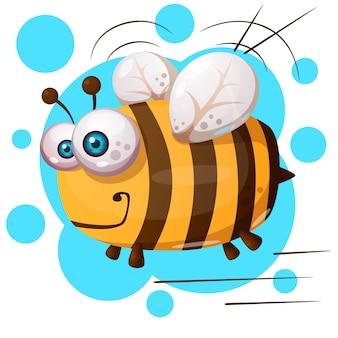 Crazy bee - персонаж мультяшной иллюстрации