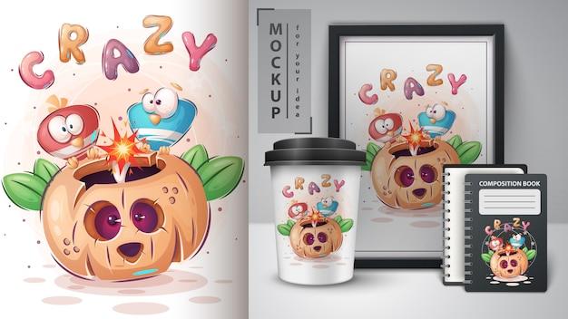 Manifesto e merchandising dei cervi di halloween dell'uccello pazzo.