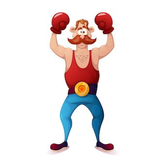 Crazy cartoon characters boxer