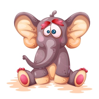 Crazy cartoon elephant characters