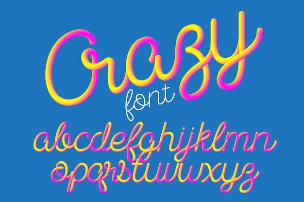 Crazy color 3d alphabet vector pipe font on blue space