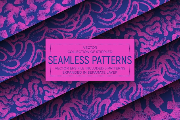 Crazy colors stippled abstract seamless patterns set
