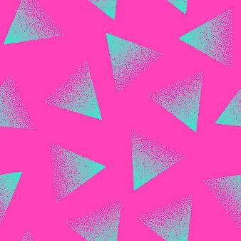 クレイジーカラー点描三角形シームレスパターン80年代と90年代のレトロなピンクのシアンの背景