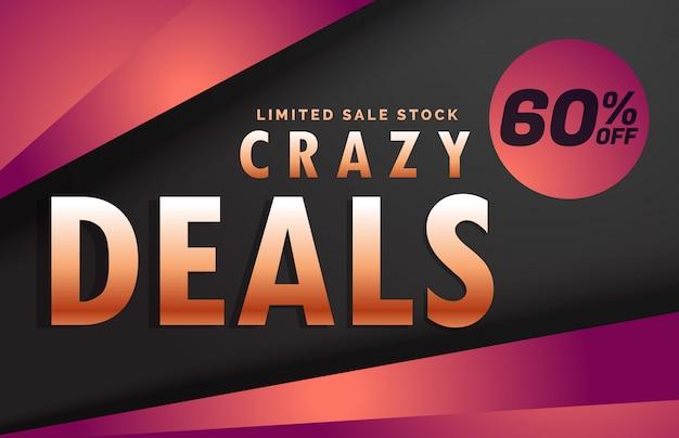 Crazy deals and discount banner voucher template design