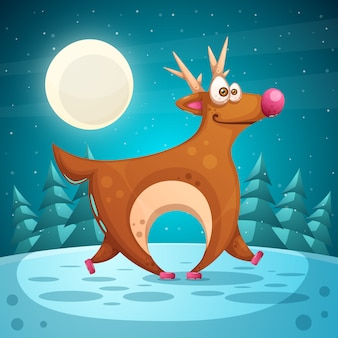 Crazy deer. cartoon winter landscape