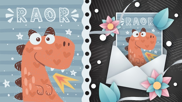 Crazy dino illustration for greeting card