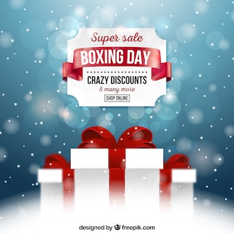Crazy discounts on a boxing day background