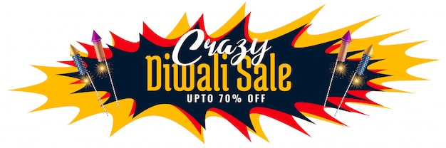Crazy diwali sale abstract banner with rocket cracker